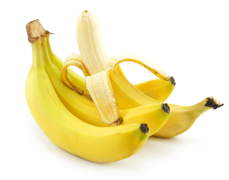 Bunch of Ripe Peeled Banana Isolated on White royalty free stock photo