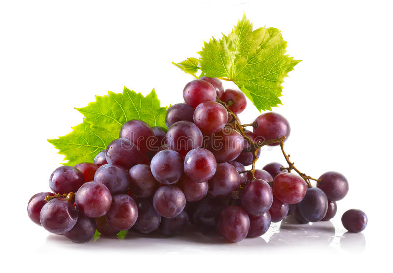 Bunch of ripe red grapes with leaves isolated on white stock photos