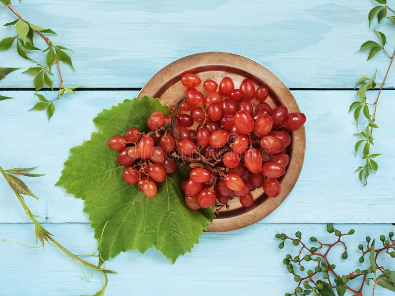 A bunch of ripe red grapes with leaves is located on a vintage metal plate. Blue wooden background. Top view stock images