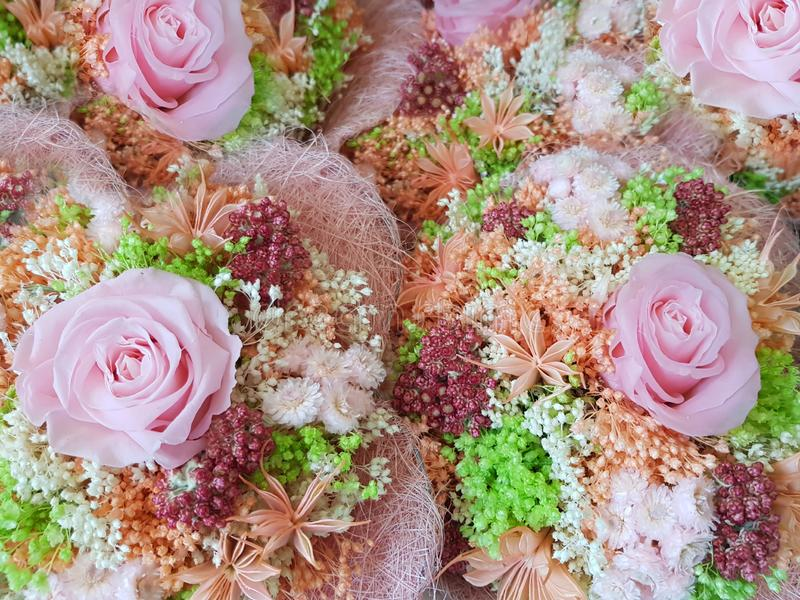 Bunch of rose flowers,  bouquet of flowers roses gerbera flowers carnations,  flowers bouquet arrange for decoration in home, stock photo