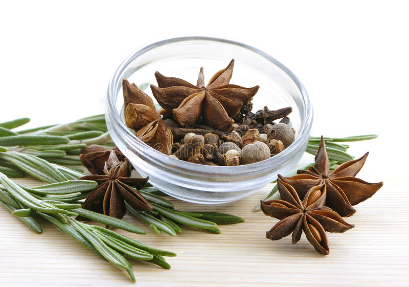 Bunch of rosemary and anise stars stock image
