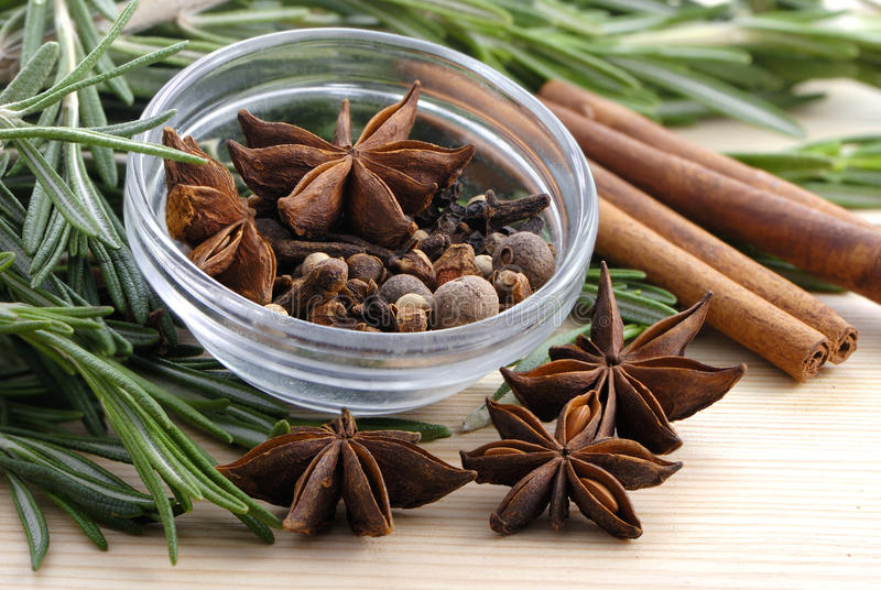 Bunch of rosemary and spice stock image
