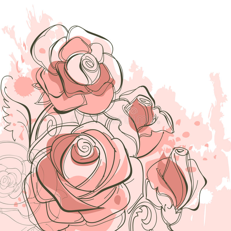 Bunch of roses vector illustration