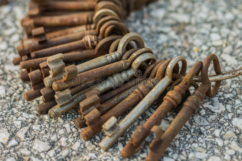 Bunch of rusty keys. Close-up stock photography
