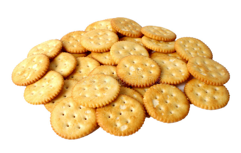 Bunch of salted crackers stock photos