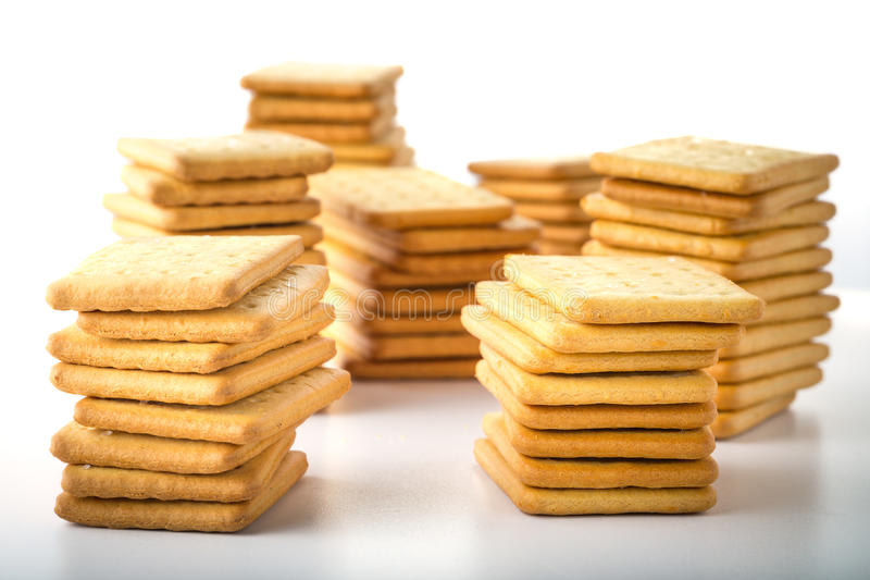 bunch of salty crackers stock photography