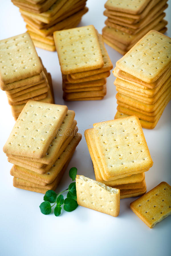 bunch of salty crackers royalty free stock image