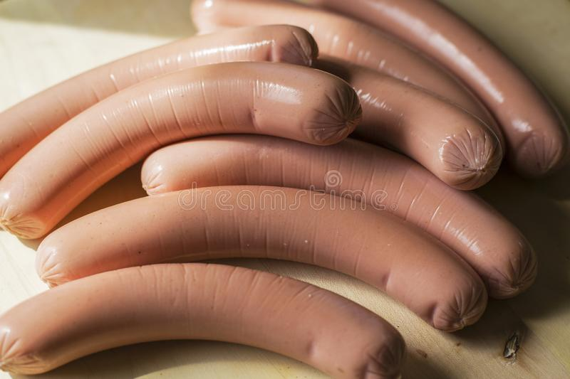 A bunch of sausages for making hot dogs stock image