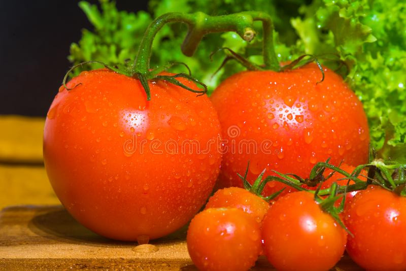 A bunch of small red cherry tomatoes. A grapple of fresh round cherry tomato with water drops stock photos