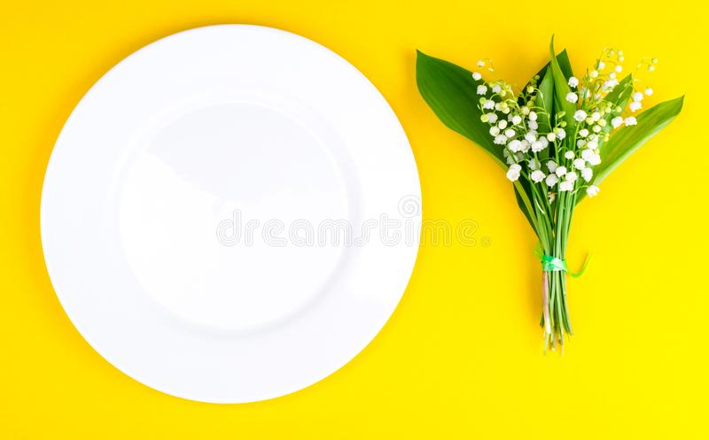 Bunch of tender white spring lilies of valley. Studio Photo royalty free stock images