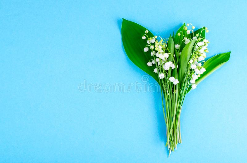 Bunch of tender white spring lilies of valley. Studio Photo royalty free stock photo