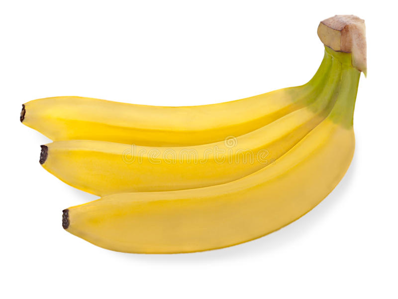 Bunch of three bananas isolated on white royalty free stock photos