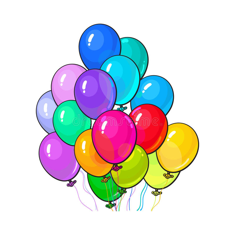 Bunch of three bright and colorful balloons stock illustration