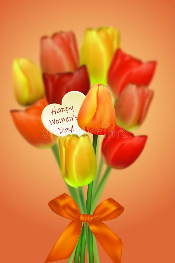 Bunch of tulips for Women`s day gift. Vector royalty free illustration