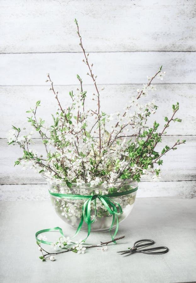 Bunch van de lentekersen bloeit lossom in vaas op witte tafel met schaar en groen lint Begrippen voor decoratie in Springtime royalty-vrije stock afbeelding