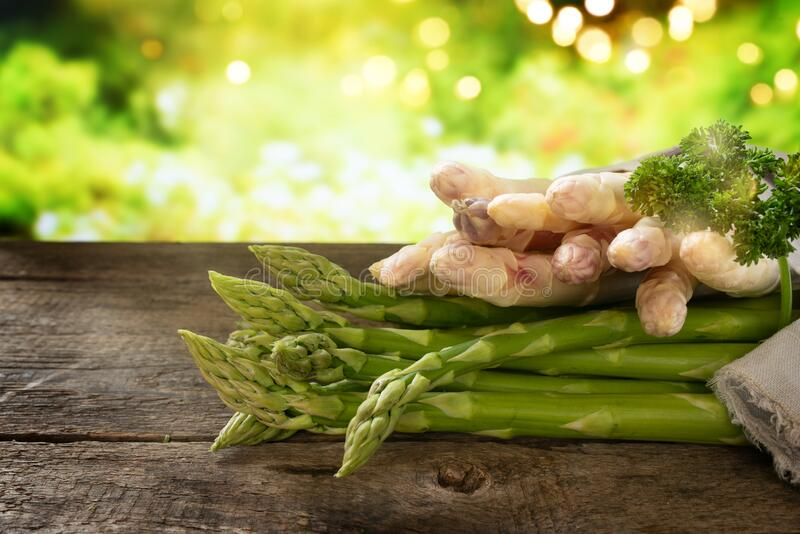 Bunch of white and green asparagus royalty free stock image