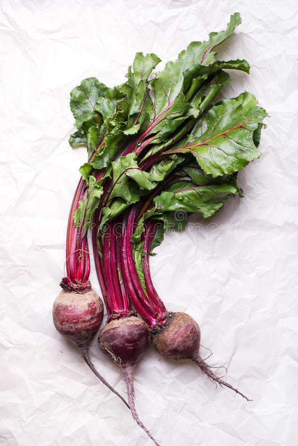 Bunch of whole beetroots with green leaves on a paper background stock photography