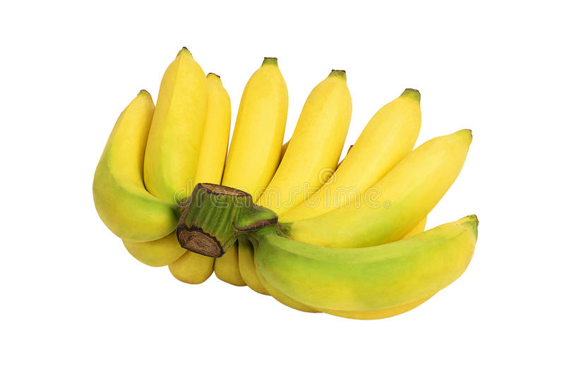 Bunch of yellow bananas isolated on white background royalty free stock photography