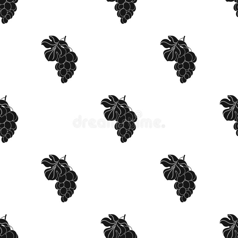 Bunch of yellow grapes icon in black style isolated on white background. Wine production symbol stock vector. Bunch of yellow grapes icon in black design stock illustration