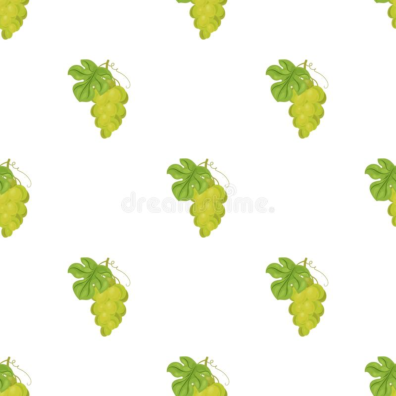 Bunch of yellow grapes icon in cartoon style isolated on white background. Wine production symbol stock vector. Bunch of yellow grapes icon in cartoon design stock illustration