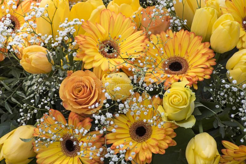 Bunch with yellow roses and gerbera stock images