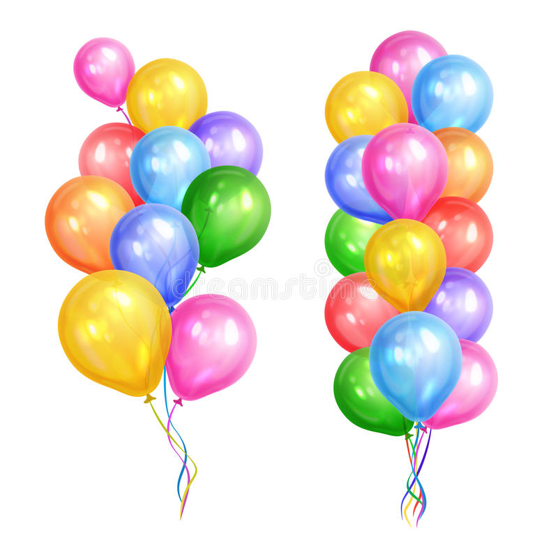 Bunches of colorful helium balloons isolated on white background royalty free illustration