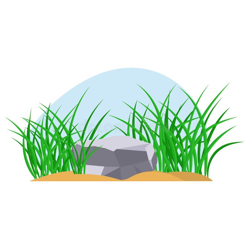 Bunches of green grass with stone stock illustration