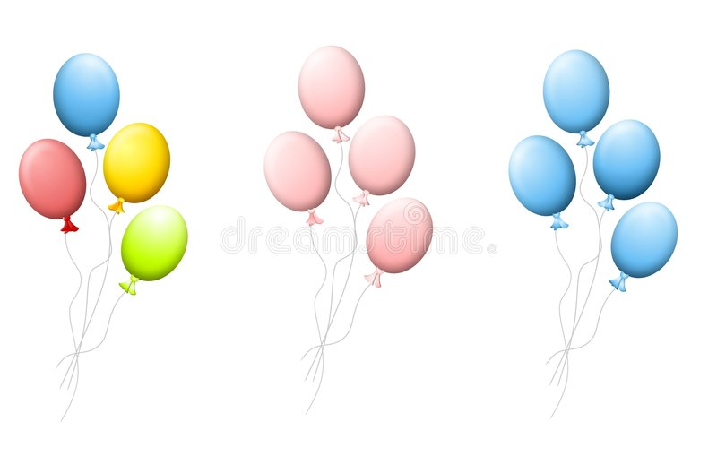 Bunches of Helium Balloons vector illustration