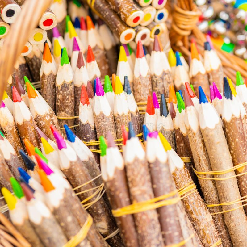 Bunches of multicolored pencils stock photography