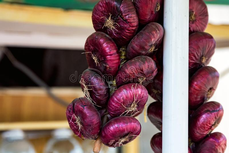 Bunches of red onions hanging on rope for sale in food market stock images