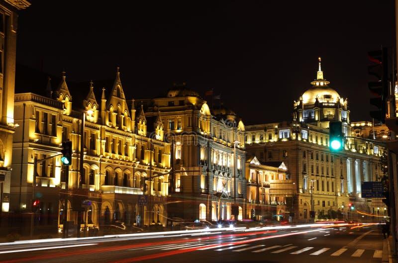 The Bund at night, Shanghai stock image