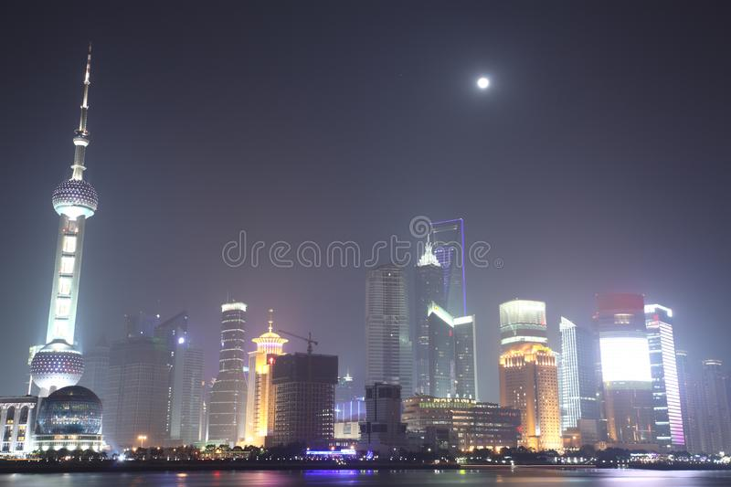 The Bund, Pudong, Shanghai Night royalty free stock image