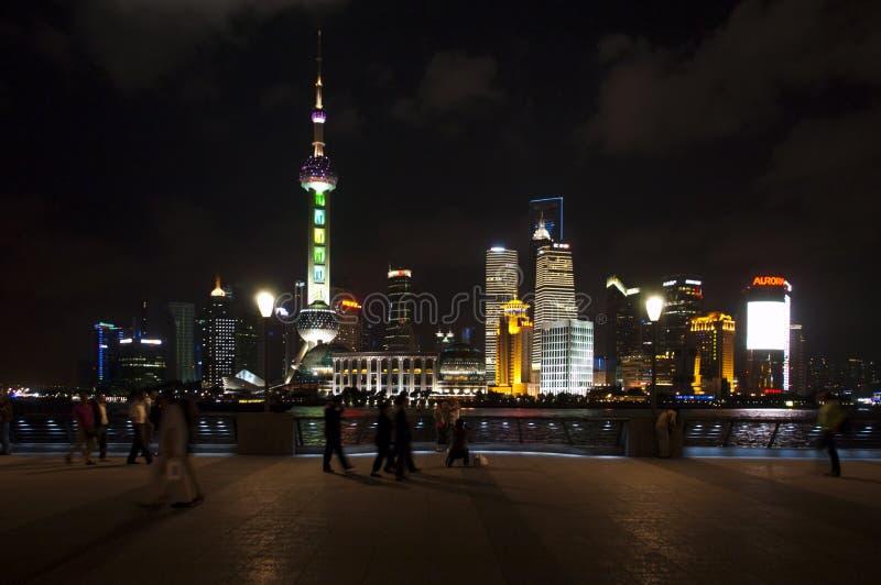 The Bund Riverwalk at Night, Shanghai China Travel stock photos