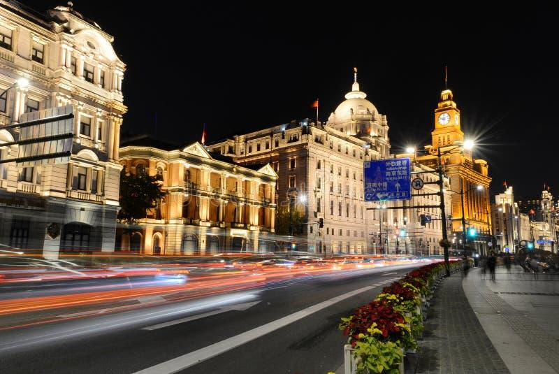 Bund w Szanghaj oświetleniu w górę fotografia stock