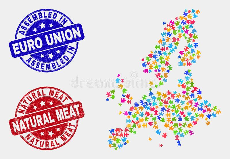 Bundel Euro Unie Geassembleerde Kaart en Grunge en Natuurlijke Vleesverbindingen vector illustratie