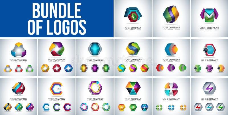 Bundel loga 3D sześciokąta kształt, royalty ilustracja
