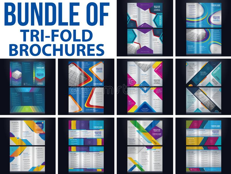 Bundel of Tri-fold brochure. Pamphlet flyer layout background vector illustration template color royalty free illustration