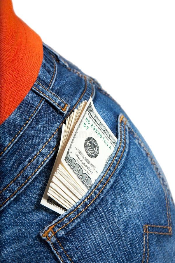 Bundel van $100 rekeningen in zak stock fotografie