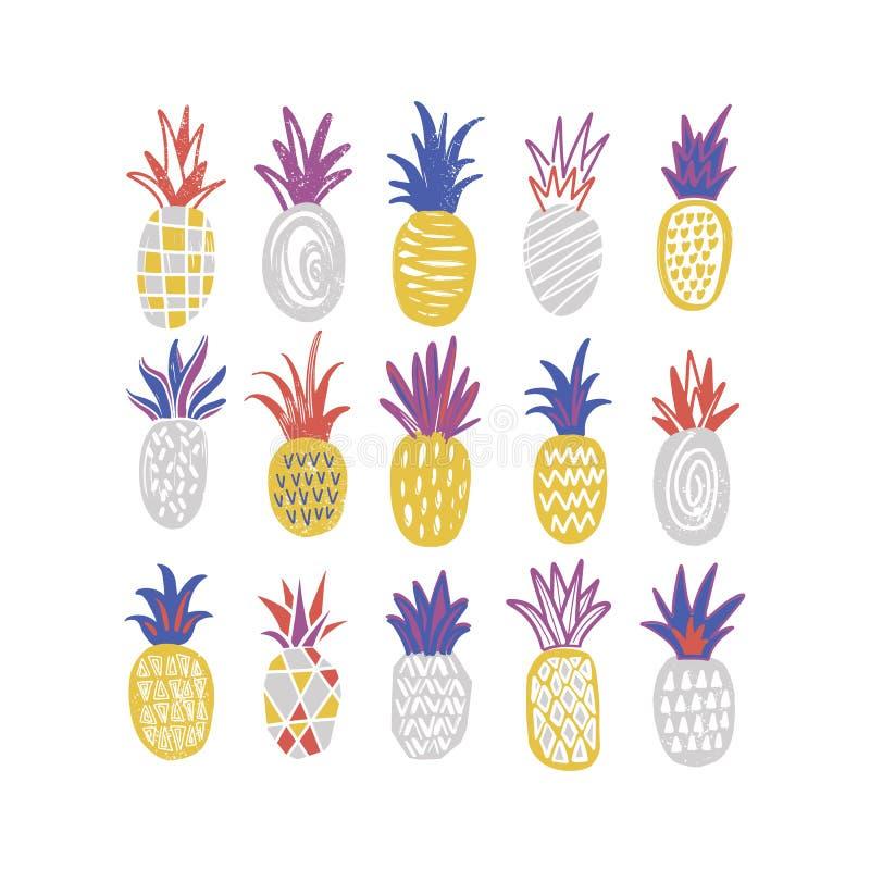 Bundel van gestileerde ananassen van diverse die textuur op witte achtergrond wordt geïsoleerd Inzameling van heerlijke zoete exo stock illustratie