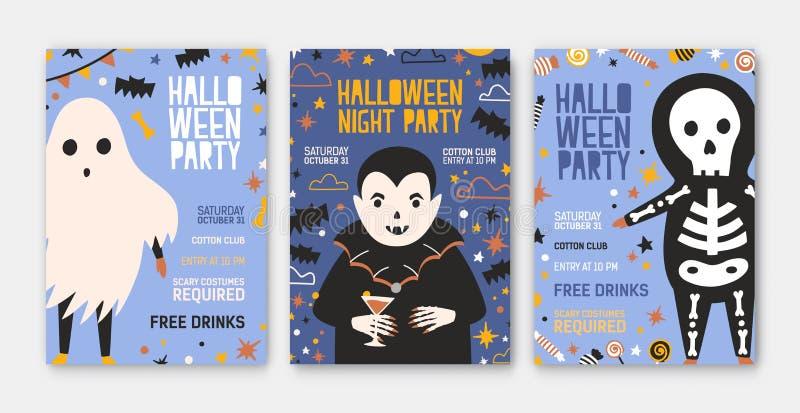 Bundel van Halloween-partijuitnodiging, vlieger of affichemalplaatjes met leuke vampier, skelet, griezelig spook en plaats voor vector illustratie