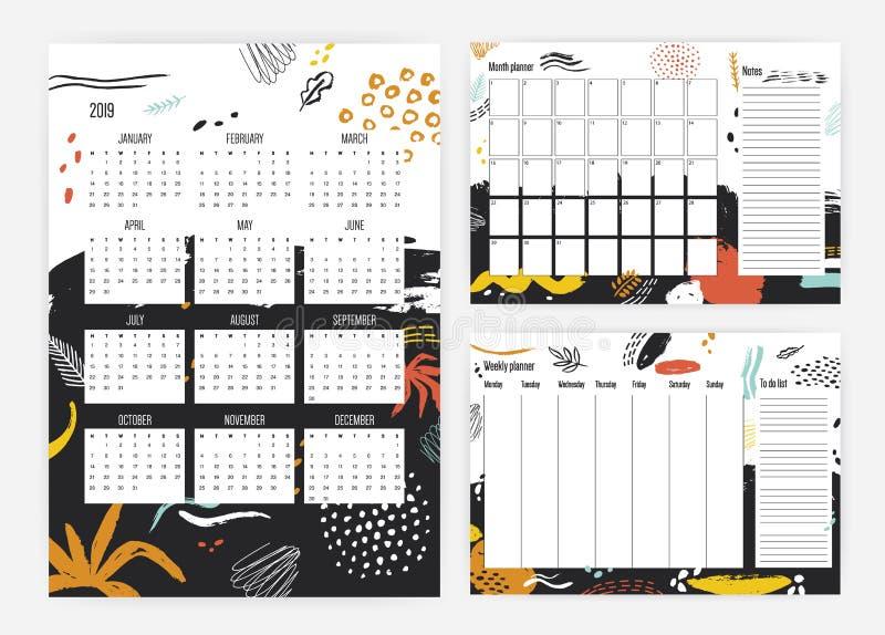 Bundel van het jaarkalender van 2019, maandelijks en wekelijkse ontwerper en aan--lijstmalplaatjes met kleurrijke vlekken, verfsp stock illustratie