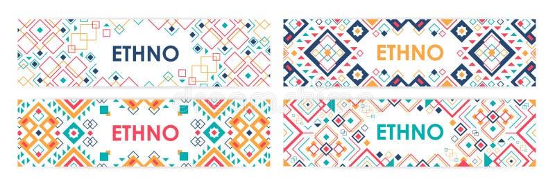 Bundel van horizontale die Webbanners met traditionele Indiaan binnen ornamenten of in geometrische patronen worden verfraaid royalty-vrije illustratie