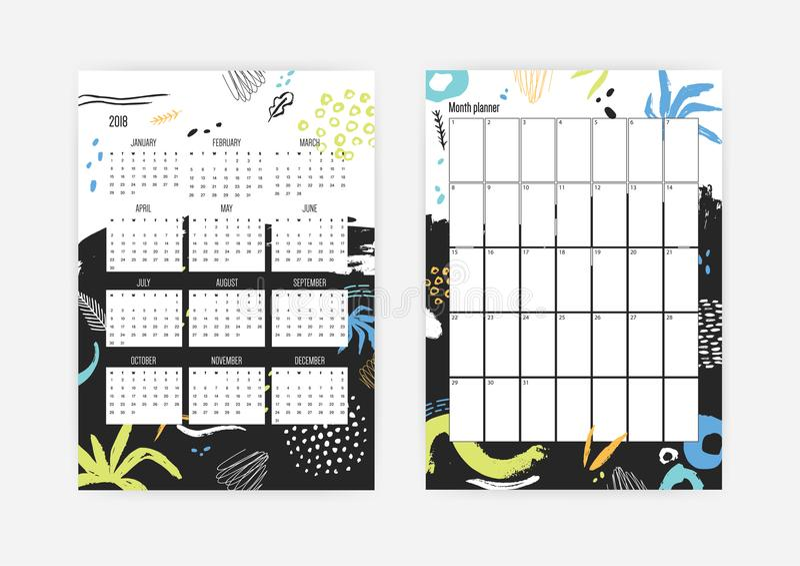 Bundel van jaar 2018 kalender met weken die van Maandag en maandontwerpersmalplaatjes beginnen met kleurrijke punten, vlekken stock illustratie