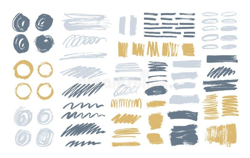 Bundel van kleurrijke die borstelslagen, verfsporen, smudges, vlekken, vlekken, gekrabbel op witte achtergrond wordt geïsoleerd R royalty-vrije illustratie