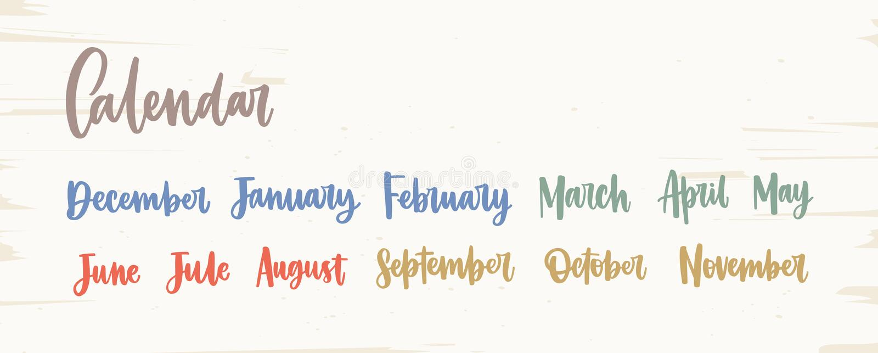 Bundel van kleurrijke Engelse die namen van maanden met elegante kalligrafische cursieve die doopvont worden geschreven op witte  royalty-vrije illustratie