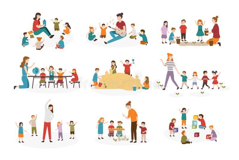 Bundel van kleuterschool of kleuterschoolactiviteiten Vrouwelijke leraar en kinderen die gitaar spelen en liederen, het lezen zin royalty-vrije illustratie