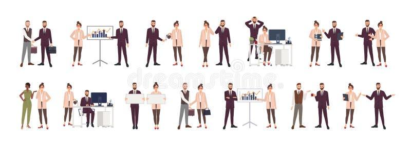 Bundel van mannelijke en vrouwelijke beambten, bedienden of managers die aan elkaar, het onderhandelen spreken, die het werkkwest stock illustratie