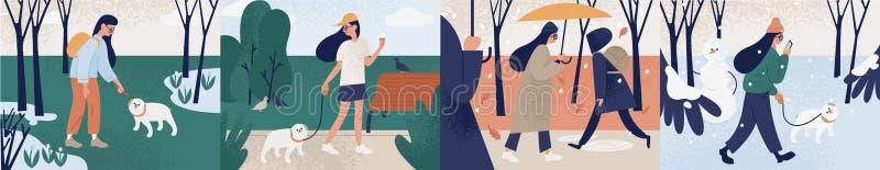 Bundel van meisje het lopen alleen of met haar hond tijdens verschillende seizoenen Reeks van jonge vrouw die openluchtactiviteit vector illustratie