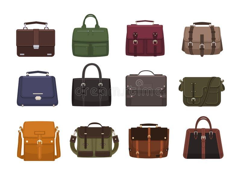Bundel van in mensens handtassen - dwarslichaam, schooltas, boodschapper, reistaszakken, koffer Moderne leertoebehoren van vector illustratie