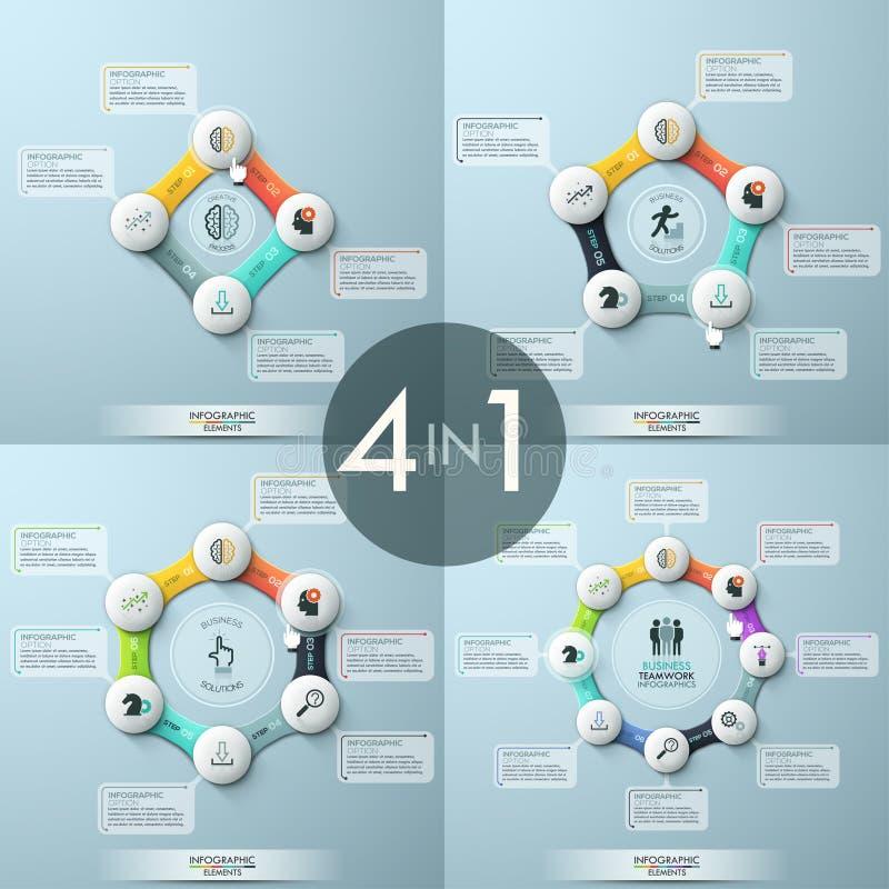 Bundel van 4 moderne infographic ontwerpmalplaatjes royalty-vrije illustratie